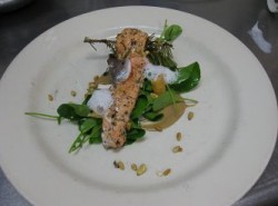 Roasted trout with blue spruce needles, pine nuts and juniper