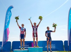 On the podium at the 2012 Olympic Test Event, Hadleigh Farm, Essex, UK
