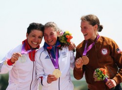 The podium: Sabine Spitz, Julie Bresset and me