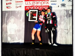 Julie (3rd) and I on the Series Overall podium. Katie Compton (2nd) is invisible.